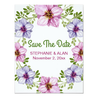 Casamento floral cor-de-rosa roxo da grinalda convite 10.79 x 13.97cm