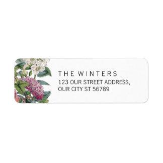 Casamento floral da arte da aguarela do vintage etiqueta endereço de retorno