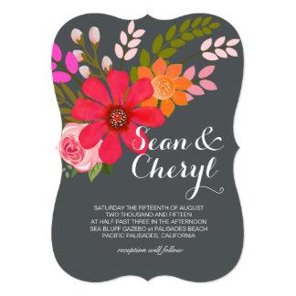 Casamento floral da fita da bandeira do folclore convite personalizados