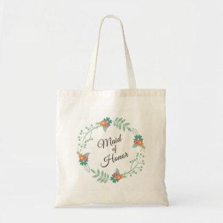 Casamento floral da grinalda da madrinha de bolsa tote