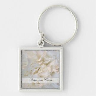 Casamento floral do cravo branco chaveiro quadrado na cor prata