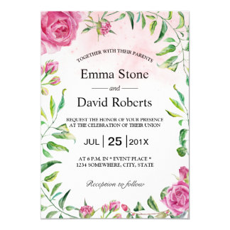 Casamento floral do jardim da aguarela elegante convite 12.7 x 17.78cm