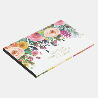 Casamento floral do jardim romântico livro de visitas