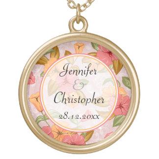 Casamento floral do primavera cor-de-rosa colar banhado a ouro