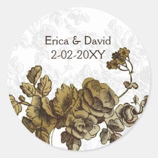Casamento floral do vintage chique de Brown do Adesivo