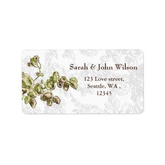 Casamento floral do vintage chique do verde do etiqueta de endereço