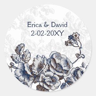 Casamento floral do vintage do marinho adesivo