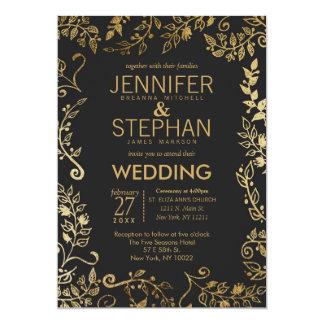 Casamento floral elegante do ouro preto e amarelo convite 12.7 x 17.78cm