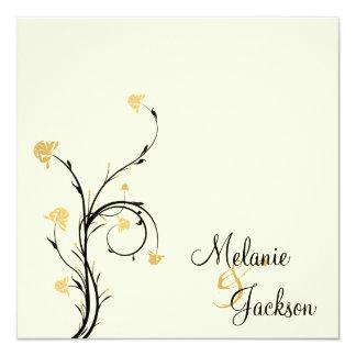 Casamento floral preto amarelo do cargo do creme convite quadrado 13.35 x 13.35cm