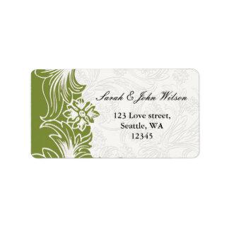 Casamento floral verde e branco do primavera etiqueta de endereço