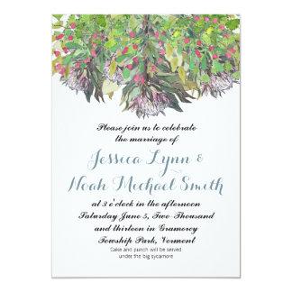 Casamento floral verde roxo do rosa da aguarela de convite 12.7 x 17.78cm