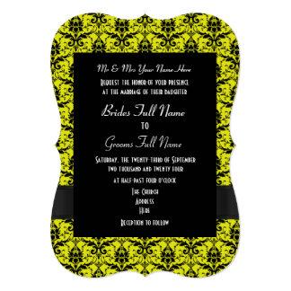 Casamento formal do damasco preto e amarelo convite 12.7 x 17.78cm