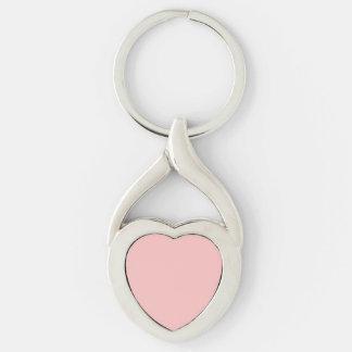 Casamento francês do castelo do rosa cor-de-rosa chaveiro coração torcido cor prata
