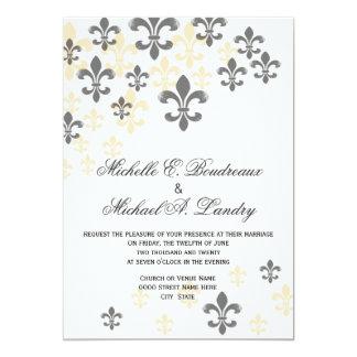 Casamento informal da cascata da flor de lis convite 12.7 x 17.78cm
