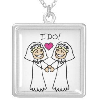 Casamento lésbica nupcial colar banhado a prata