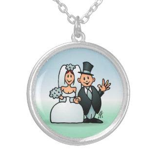Casamento maravilhoso colar banhado a prata