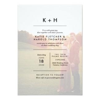 Casamento minimalista da foto convite 12.7 x 17.78cm