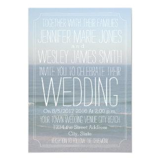 Casamento moderno da foto da praia convite 12.7 x 17.78cm