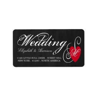 Casamento moderno do coração do rico do quadro etiqueta de endereço
