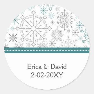 Casamento no inverno branco dos flocos de neve da adesivo