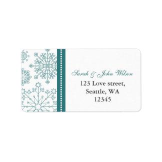 Casamento no inverno branco dos flocos de neve da etiqueta de endereço