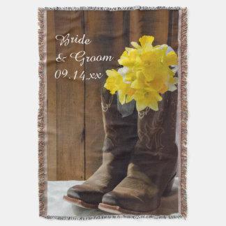 Casamento ocidental do país amarelo dos Daffodils Manta