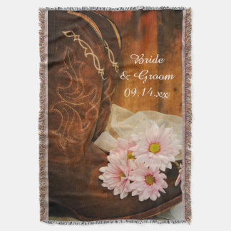 Casamento ocidental do país cor-de-rosa das botas manta