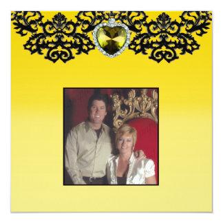 Casamento ornamentado amarelo & preto do pendente convite quadrado 13.35 x 13.35cm