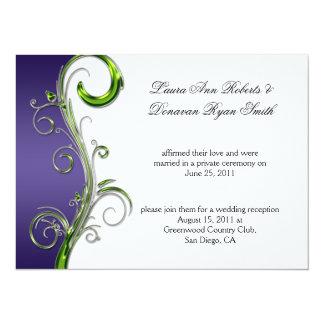 Casamento ornamentado de prata roxo e verde do convite 13.97 x 19.05cm