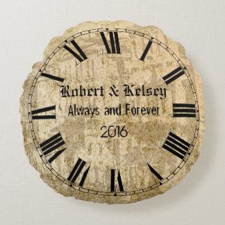 Casamento ou aniversário personalizado almofada redonda