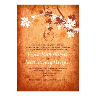 Casamento outono elegante da laranja das folhas de convite 12.7 x 17.78cm