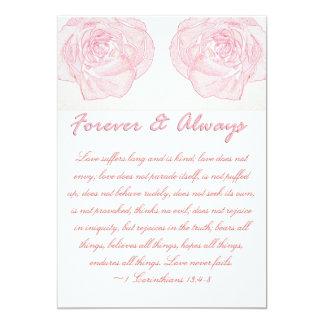 Casamento para sempre & sempre cor-de-rosa da convite 12.7 x 17.78cm