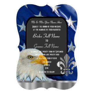 Casamento patriótico da bandeira americana e da convite 12.7 x 17.78cm