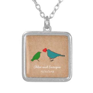 Casamento personalizado bonito do pássaro colar banhado a prata