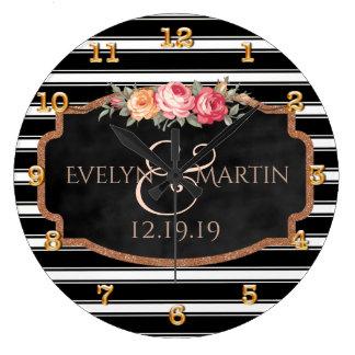 Casamento personalizado elegante do ouro do rosa relógio grande