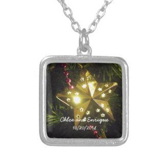 Casamento personalizado estrela do feriado do colar banhado a prata