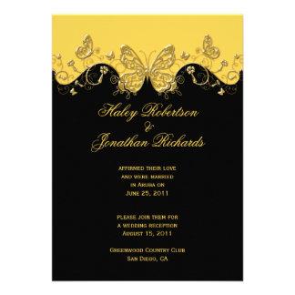 Casamento preto amarelo do cargo das borboletas do convite personalizados