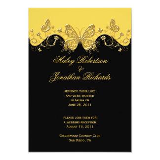 Casamento preto amarelo do cargo das borboletas do convite 12.7 x 17.78cm