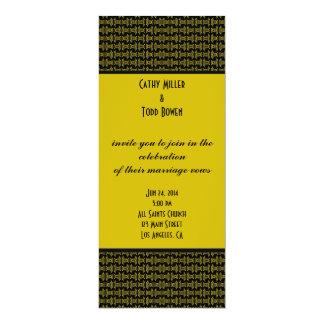 """Casamento preto amarelo do teste padrão convite 10.16"""" x 23.49cm"""
