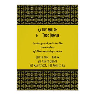 Casamento preto amarelo do teste padrão convite 12.7 x 17.78cm