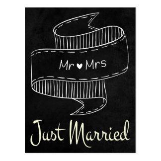 Casamento preto & branco do quadro do recem cartão postal