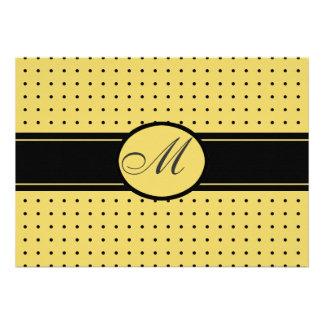 Casamento preto e amarelo com monograma convites personalizado