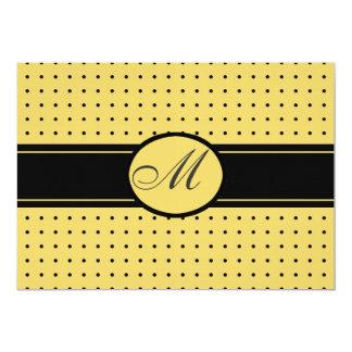 Casamento preto e amarelo com monograma convite 12.7 x 17.78cm