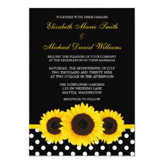 Casamento preto e branco das bolinhas do girassol convite 12.7 x 17.78cm