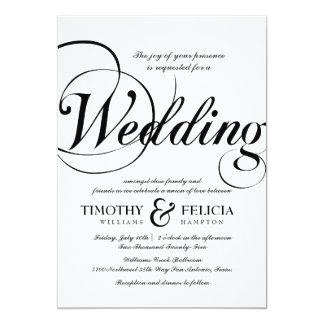 Casamento preto e branco do estilo clássico convite 12.7 x 17.78cm