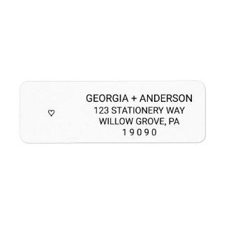 Casamento preto e branco moderno simples do etiqueta endereço de retorno