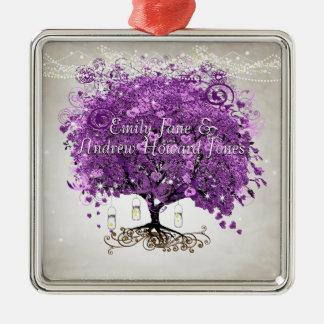 Casamento romântico roxo brilhante da folha do ornamento de metal
