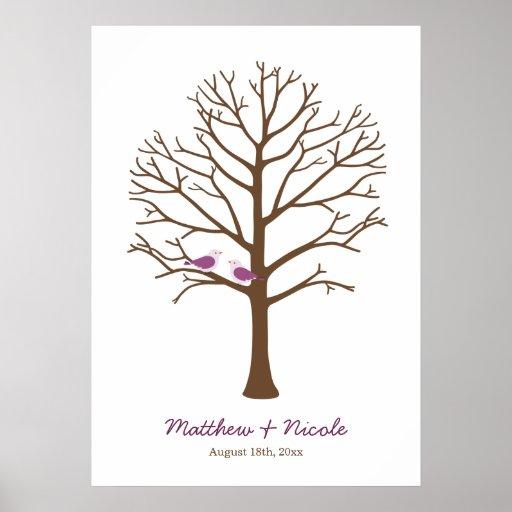 Casamento roxo da árvore da impressão digital dos