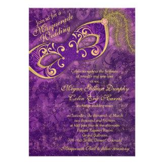 Casamento roxo do carnaval da bola de mascarada do convites