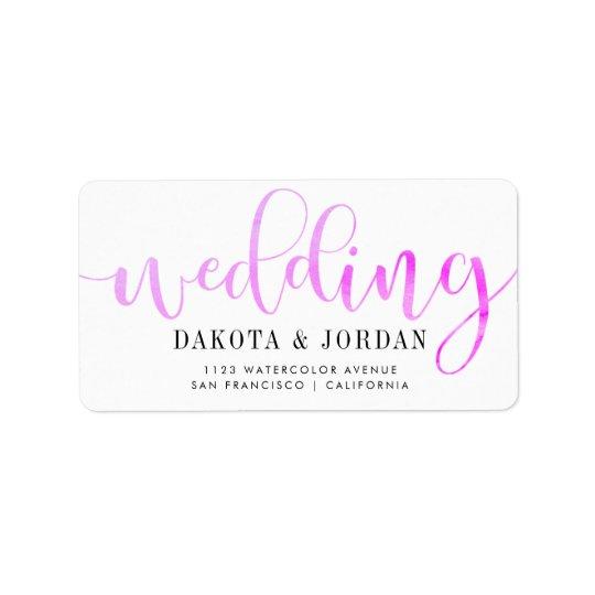 Casamento roxo moderno da aguarela da tipografia | etiqueta de endereço